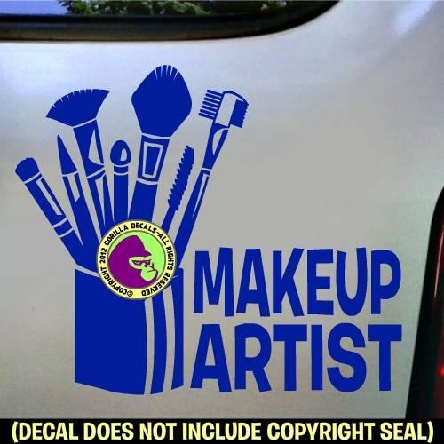 MAKE UP ARTIST Vinyl Decal Bumper Sticker Laptop Window Car Wall Sign BLUE -