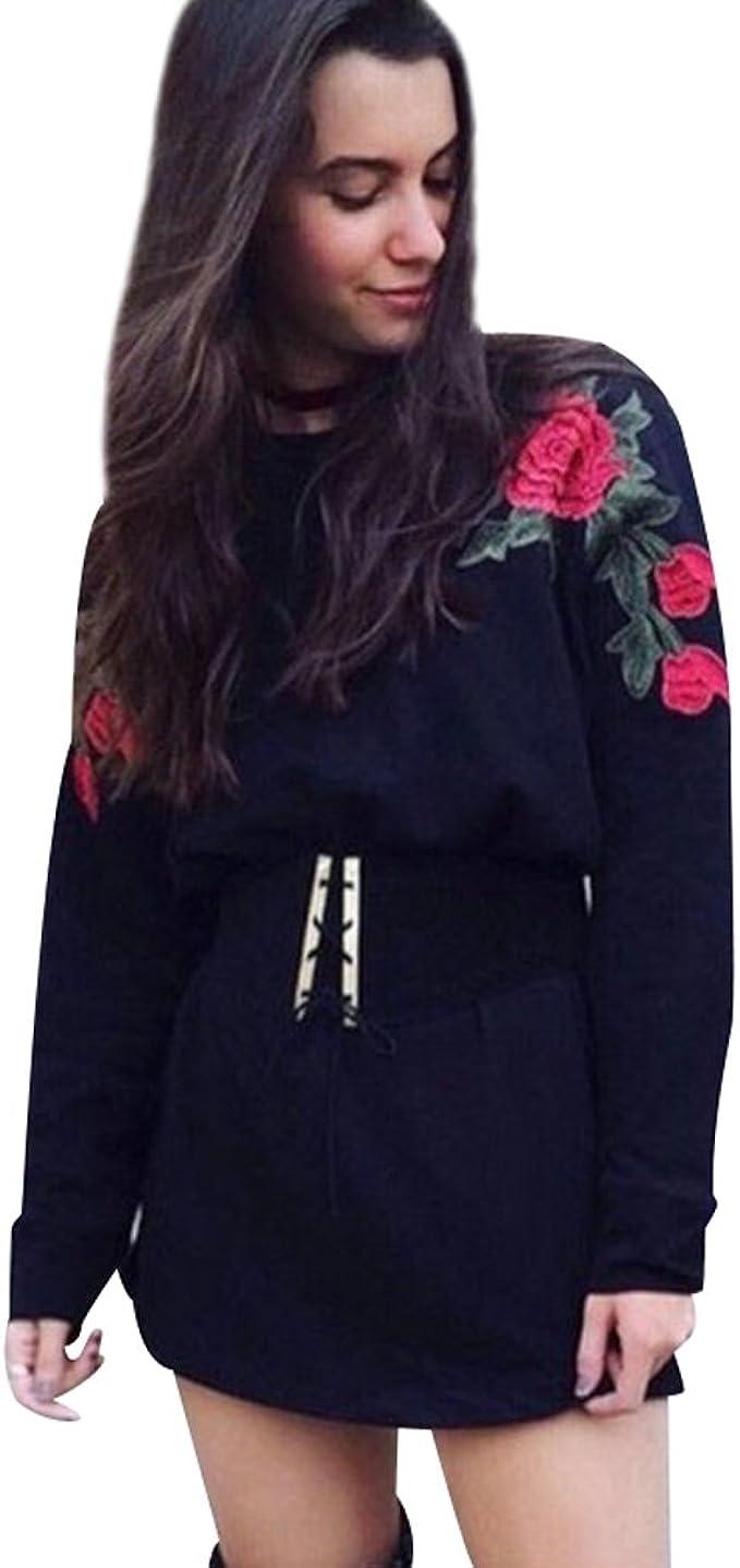 Sudaderas Largas Mujer Sudadera Larga Pullover Cuello Redondo Sudaderas de Flores Estampadas Deportivas sin Capucha Chica Camisetas de Manga Larga Jerseys Dama Camisas Bonitas Tops