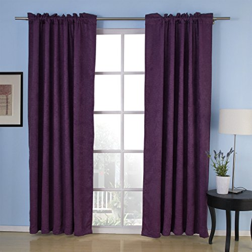 IYUEGO Embossed Commitment Blackout Thermal Rod Pocket Curtain Drapes With Multi Size Custom 50