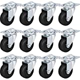 "24 PK 2"" Swivel Caster Wheels Hard Rubber Base with Top Plate & Bearing"