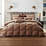 SNOWMAN Luxurious Goose Down Comforter Twin Size 100% Cotton Shell with Corner Tab-Extra Warm, Khaki Solid