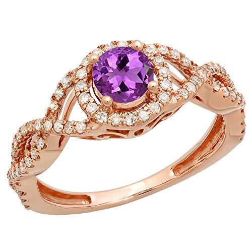 (Dazzlingrock Collection 10K 5 MM Round Amethyst & Diamond Ladies Split Shank Halo Engagement Ring, Rose Gold, Size 7)