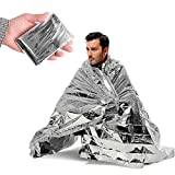 Ezyoutdoor 5 pieces Solar Blanket Survival Safety Insulating Mylar Thermal Heat for Hiking Picnic Travel Backpacking Hunting Survival Bivouac