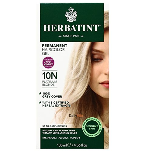 Herbatint Permanent Herbal Haircolour Gel, Platinum Blonde 10 N, 4.56 Ounce by Herbatint