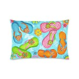 Summer Starfish Flip Flop on Beach Rectangle Sofa Home Decorative Throw Pillow Case Cushion Cover Cotton Polyester Twin Side Printing 16 x 24 inches
