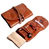 Handmade Genuine Leather Pipe Tobacco Pouch Bag Organize Case Pipe Tool lighter Holder Pocket for 2 pipe Vintage Unisex (Brown(lacing ))