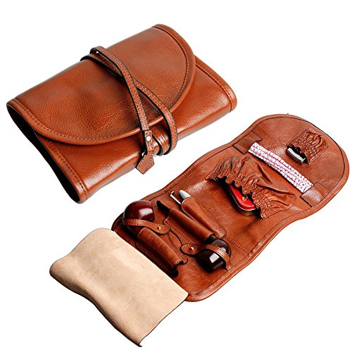 Handmade Genuine Leather Pipe Tobacco Pouch Bag Organize Case Pipe Tool lighter Holder Pocket for 2 pipe Vintage Unisex (Brown(lacing )) by Unknown (Image #9)