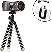 Joby GorillaPod Hybrid Flexible Tripod (Gray) for Compact System Cameras and for Action Cameras and a Bonus Universal Smartphone Tripod Mount Adapter works for iPhone 7, 7 Plus, 6, 6 Plus, 5, 5s, 5c, HTC One, Galaxy S2, S3, S4, S5, S6, S7 and Most Smartphones