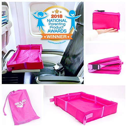 Fun N' Fly Foldable Travel Tray - Pink-Purple Portable Durable Kids, Toddler, Baby Play Space and Snack Desk for Airplane Travel by FunnFly
