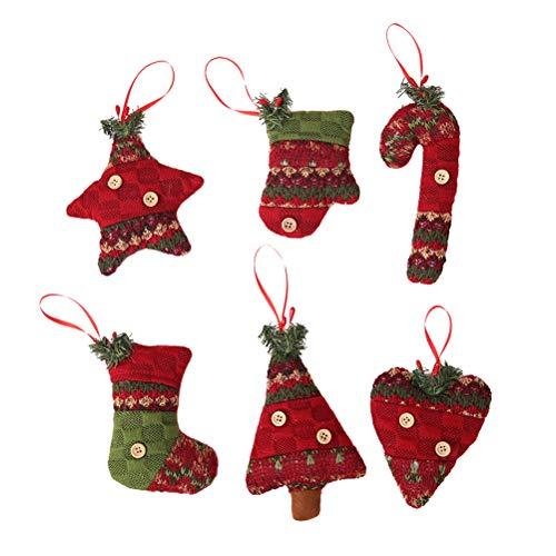 VORCOOL Adornos de Tela navideños, 12 Piezas Adornos navideños Colgantes del árbol de Navidad Decoraciones Colgantes para...