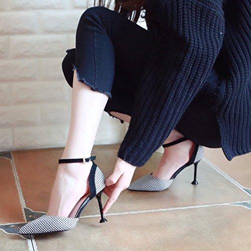 ZHUDJ Feder High Heels, High Heels, Rechtschreibung Weibliche Schuhe, Dünne Absätze Und Flache Schuhe black