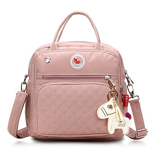 (LAGAFFE Women Crossbody Shoulder Bag Tote Bag Purse Handbags Multi Purpose Shoulder Backpack (Pink))