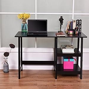 COSTWAY Black Modern Trestle Desk Laptop Writing Working Table Shelves  Computer Desk