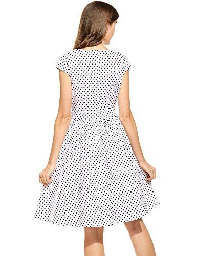 Angvns Femmes V Cou Polka Vintage Sans Manches Dot Grande Fête Tunique Swing Robe De Soirée Blanche