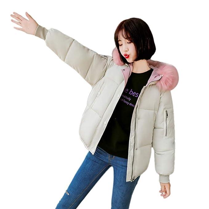 VJGOAL Mujeres de Invierno Moda Casual Color sólido Abrigo de Piel sintética Cuello Grande de Piel
