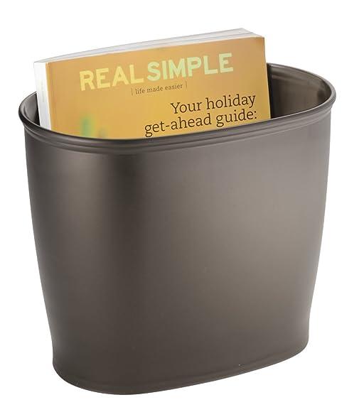 MDesign Oval Wastebasket Trash Can For Bathroom, Kitchen, Office   Bronze