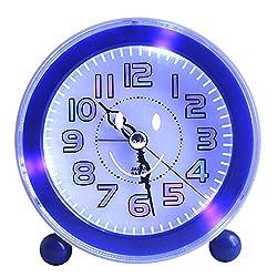 Kaimao Travel Alarm Clock, Non Ticking Quartz Analog Alarm Clock With Nightlight And Snooze Morning Clock, Loud Music Alarms AA Battery Powered (Blue)