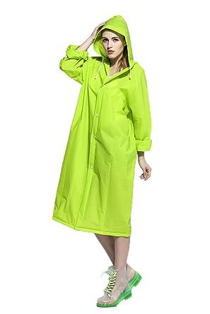 f86e8de3e ColorDrip Women's Eco-friendly EVA Fashion Translucent Raincoat ,Green,  Medium