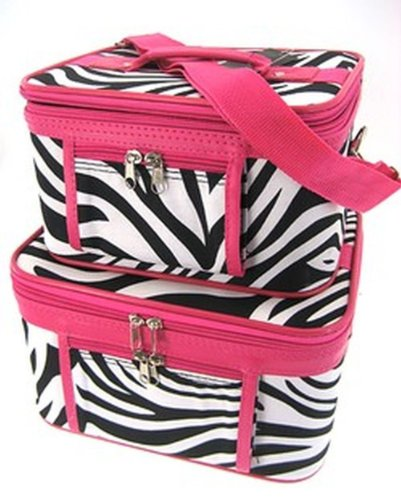 - 2-Piece Set - Zebra Print Cosmetic Cases w/ Fuchsia Trim