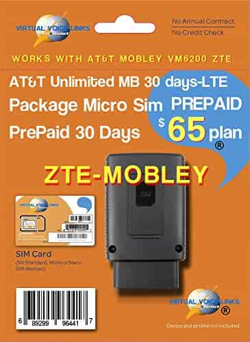 AT&T Unlimited Data Plan $65/mo - connected car for ZTE Mobley