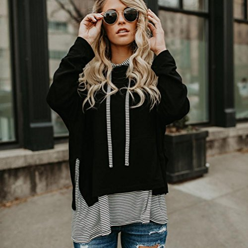 Jumper Cotton Blouse MML Pullover Sweatshirt Stripe Colthing Spring Women Stitching Winter Hooded Black W0zqCAHT0
