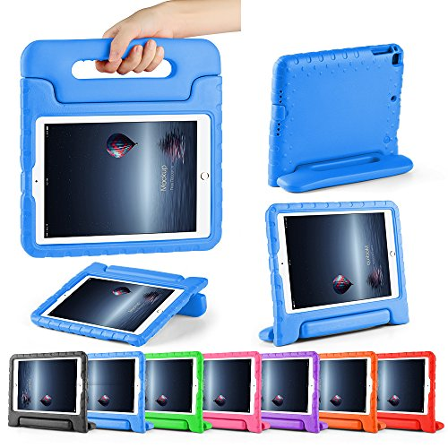 CAM-ULATA for New 9.7 iPad Case Kids 2017 Shockproof for iPad Air Air 2 Tablet Kids proof Handle Cover 5th Generation 9.7 inch with Folio Stand Blue