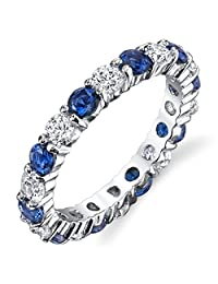Metal Masters Co.® Sterling Silver 925 Eternity Ring Engagement Wedding Band With Sapphire Blue Color Cubic Zirconia