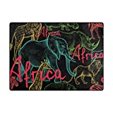 Vantaso Soft Foam Area Rugs Africa Elephant Non Slip Play Mats for Kids Boys Girls Playing Room Living Room 80x58 inch