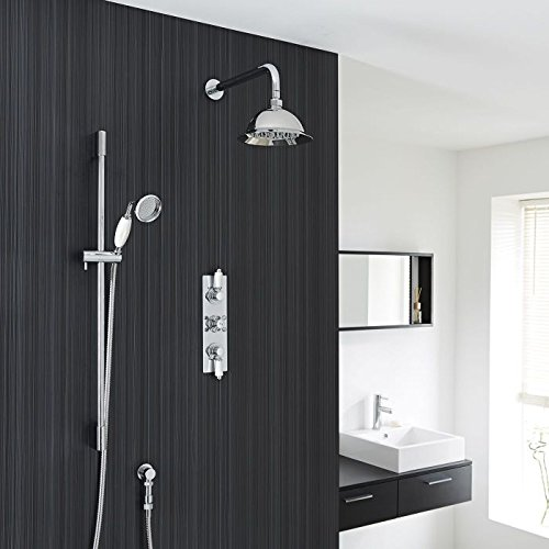 Hudson Reed Traditional Chrome Finish Thermostatic Shower System With 8