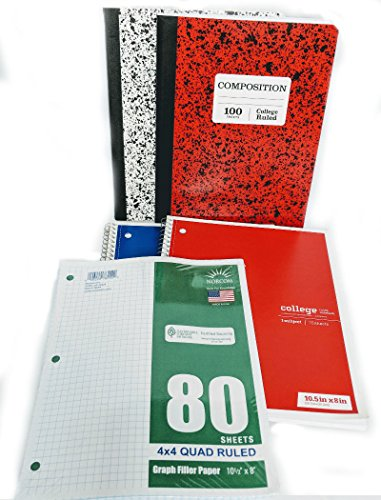 35 Item Back to School Supplies - High School, Middle School Bundle - 1'' Binder, Tabs, Pouch, Folders, Notebooks, Filler and Graph Paper, Ruler, Pens, Pencils, Eraser, Highlighters, Note Cards by MISC (Image #2)