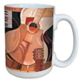 Tree-Free Greetings lm43399 Cool Abstract Guitar by Paul Brent Ceramic Mug with Full-Sized Handle, 15-Ounce