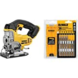 DEWALT DCS331B 20-volt Max Li-Ion Jig Saw & DEWALT DW3742C T-Shank Jig Saw Blade Set with Case, 14-Piece
