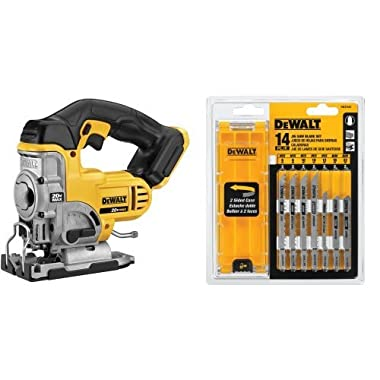 DEWALT DCS331B 20-Volt MAX Li-Ion Jig Saw with DW3742C 14-Piece T-Shank Jig Saw Blade Set and Case
