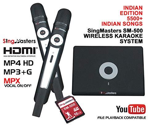 SingMasters Magic Sing Indian Karaoke Machine,5500+ INDIAN Songs,Dual wireless Microphones,YouTube Compatible,Indian Magic Sing,HDMI,Song recording,Indian Karaoke Machine