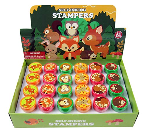 TINYMILLS 24 Pcs Woodland Animals Stampers for Kids (Inked Fox)