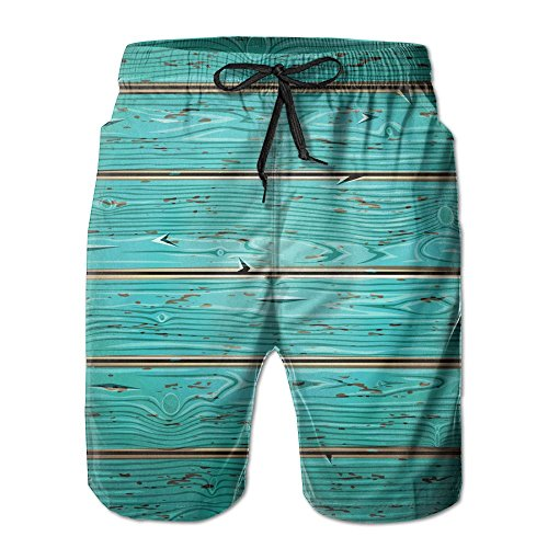 KJDS Men's Wooden Painted Quick Dry Summer Beach Shorts Pants with Mesh Lining for Dad ()