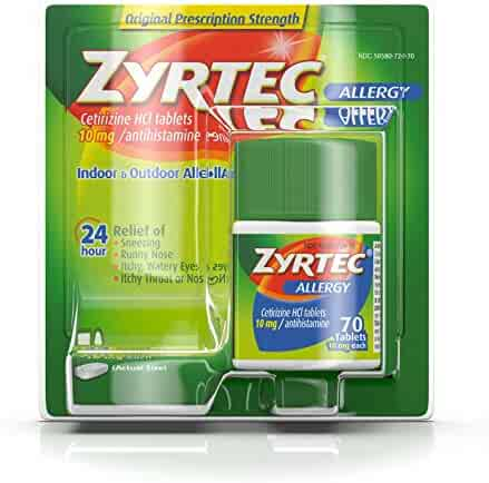 Zyrtec Prescription-Strength Allergy Medicine Tablets With Cetirizine, 70 Count, 10 mg