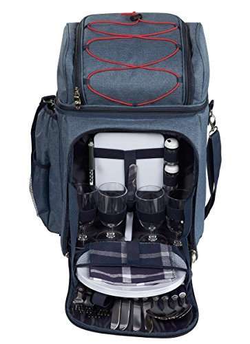 Picnic Backpack - Lunch Set for 4, with Insulated Cooler Compartment, Detachable Wine Bottle Holder, Flatware, Plates, Napkins, Salt & Pepper Shakers, Cutting Board, Bottle Opener and Wine ()