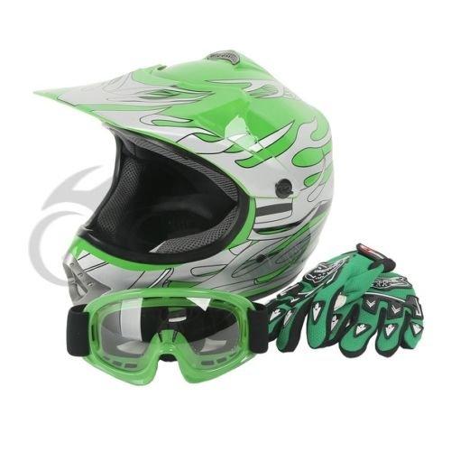 Tengchang-Youth-Kids-Green-Flame-Dirt-Bike-ATV-Motocross-Offroad-Helmet-MXGogglesM