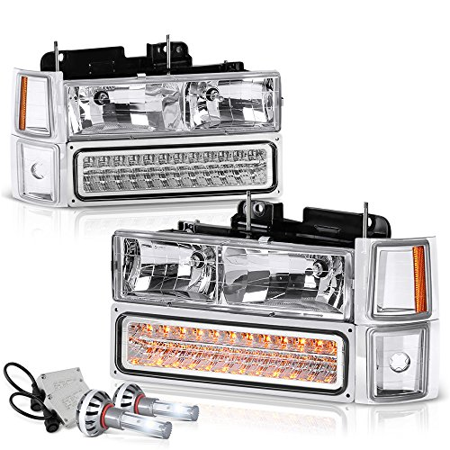 VIPMOTOZ For 1994-1998 Chevy C/K 1500 2500 3500 Pickup Suburban Tahoe Headlights - Built In Cree LED Low Beam, Metallic Chrome Housing, Driver and Passenger Side