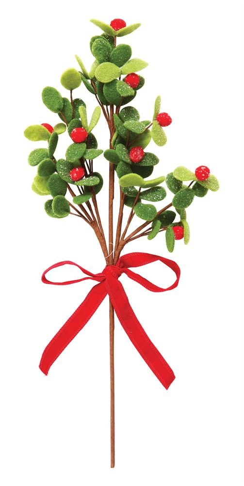 Heart of America Felt Spray With Bow Red Berries Green Leaf - 6 Pieces