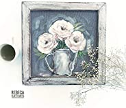 White Peonies,Beautiful Farmhouse style, Rustic Art, Screen Painted