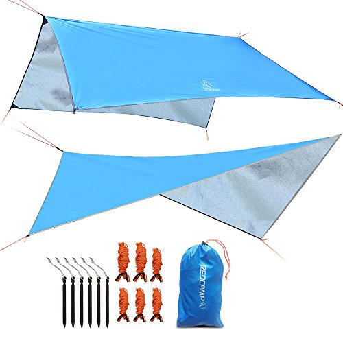 REDCAMP 10x10ft Camping Tent Tarp Waterproof, Lightweight Rain Fly for Outdoor Hiking Backpacking, Blue
