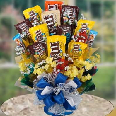 M&M Bouquet   Beautiful Chocolate and Candy Gift Selection   Birthday Gift Idea