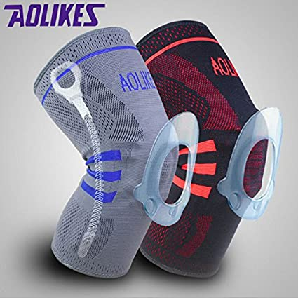 1597c68132 Buy Generic Gray, M : Nylon Silicon Weightlifting Knee Sleeve Knee Brace  Running Basketball Volleyball Knee Pad Protector Injury Prevention From ACL  Online ...