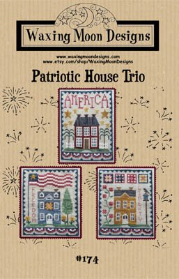 Patriotic House Trio Cross Stitch Chart and Free Embellishment