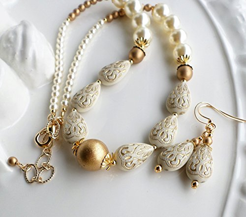 Ivory and Gold Colored Acrylic and Pearl Necklace Earrings SET