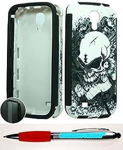 Accessory Factory(TM) Bundle (the item, 2in1 Stylus Point Pen) Samsung Galaxy S 4 Hybrid Slim Case Silver Skull