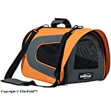 EliteField Airline Approved Soft Pet Carrier with Plush Bed for Dog and Cat, 20 L x 11 W x 11 H Inch, Orange/Gray