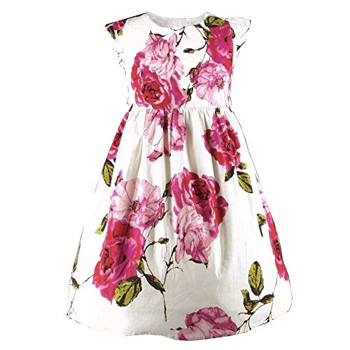 Floral Candies Dress (Buenocns Summer Dresses Girls Sleeveless Cotton Round Neck Floral Printed Girls Dresses Red Rose Red Rose 9)